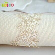 Вырезанные лазером кремовые Свадебные Кольца для салфеток различные разноцветные украшения кольцо для полотенца