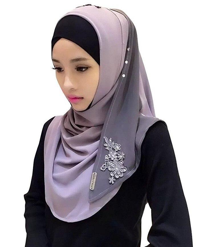 Хлопковый хиджаб шарф, кружевной вышитый сшивание дизайн женский хиджаб платок на голову длинные шали обертывания Джерси мусульманский шарф - Цвет: Color 1