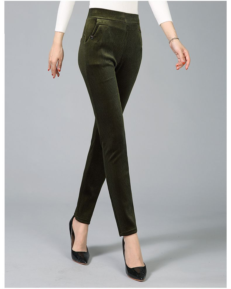 Women Elegant Striped Velvet Pants Slim Fit Corduroy Trousers Woman Red Green Black Blue Pant Bottoming Trouser Lady (17)