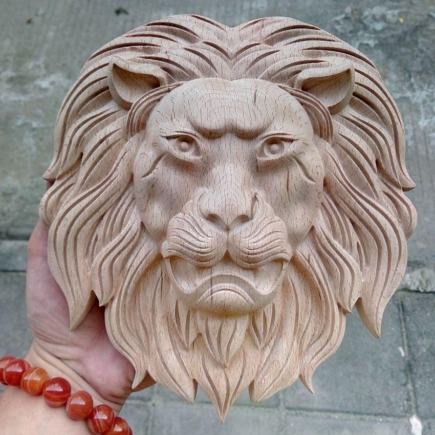 Artisanat de sculpture sur bois roi lion en bois sculpté animaux ornements de maison ameublement décorations de meubles décalcomanies (A166)