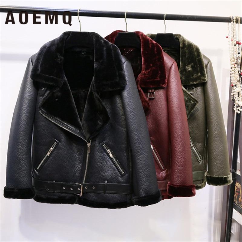AOEMQ Retro New Lapel And Velvet Padded Fur One Coat Warm Fashion PU Leather Lamb Hair Motorcycle Clothing Bomber Jacket