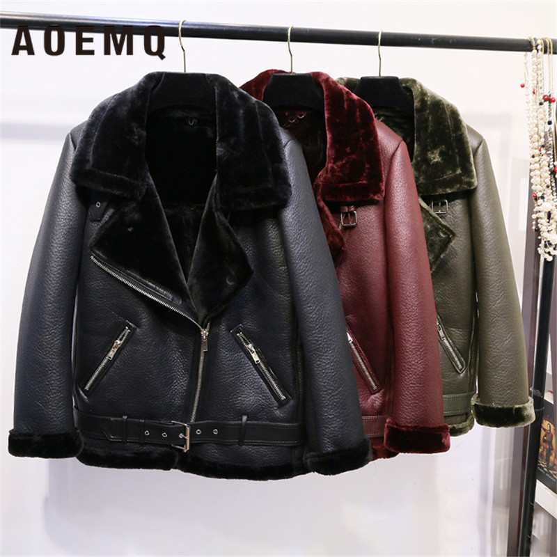 AOEMQ Retro New Lapel and Velvet Padded Fur One Coat Warm Fashion PU Leather Lamb Hair