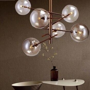 ยุโรปโมเดิร์น Creative จี้ถั่วเมจิกแก้ว Bubbles ศึกษาห้องรับแขกร้านอาหาร Cafe โคมไฟตกแต่ง