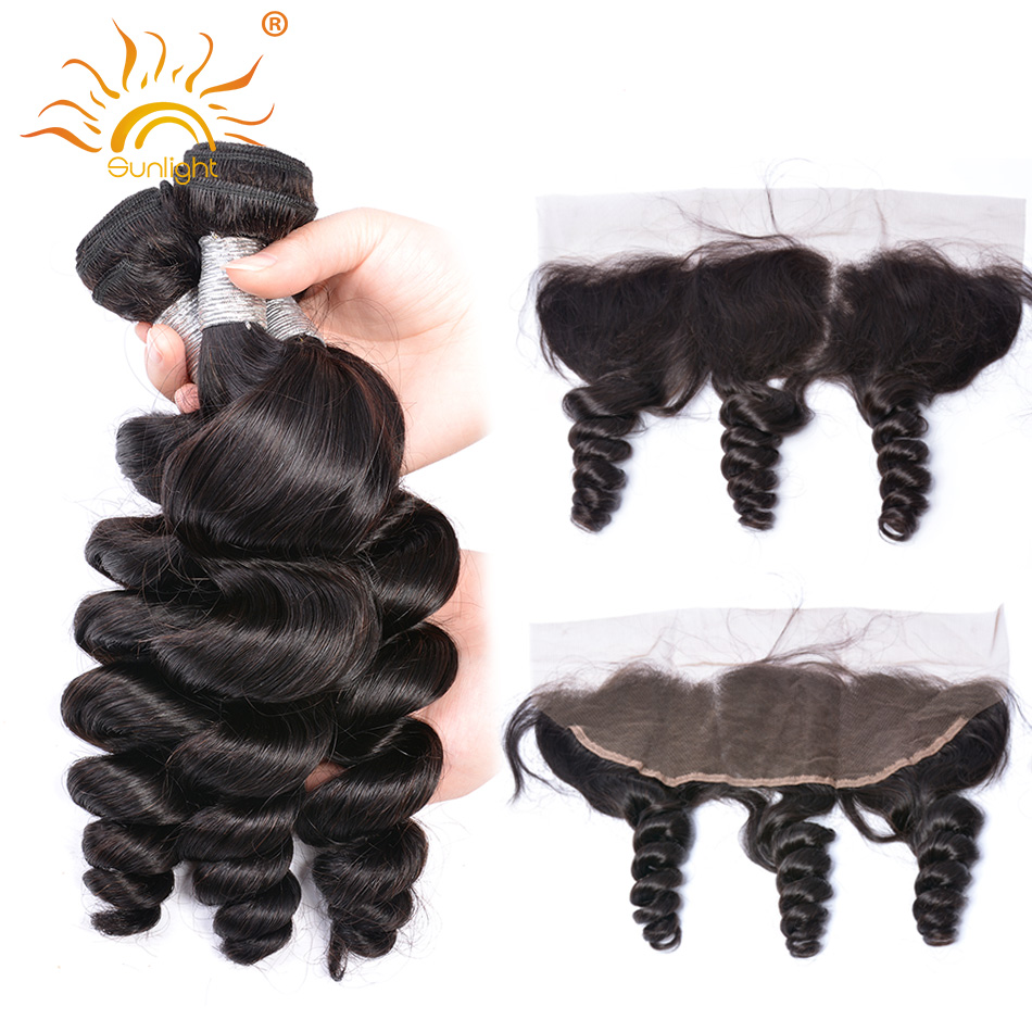 Peruvian Loose Wave Bundles With Frontal Human Hair Bundles With Closure Sunlight Remy Human Hair With