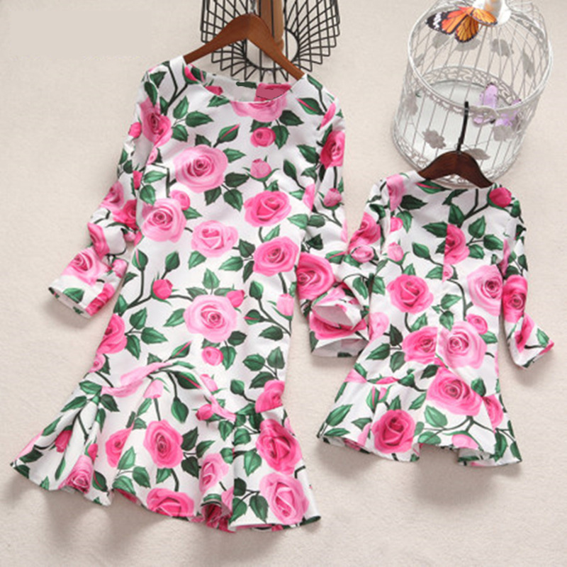 Mother Daughter Dresses Mom Mummy And Kids Gown Floral Dress 2018 Autumn Family Clothing Mom And Daughter Dress Outfits