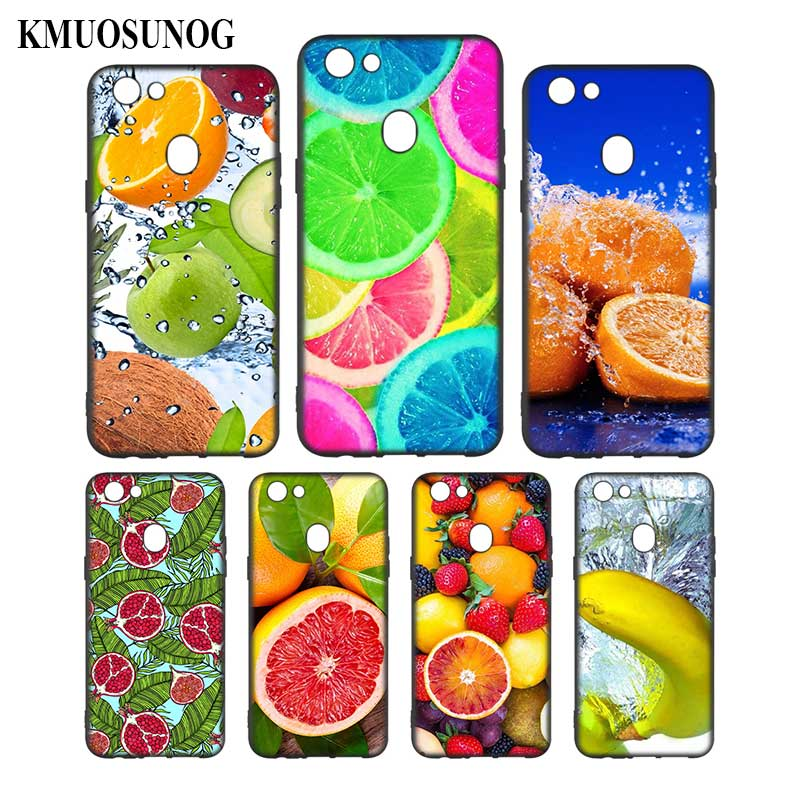 Silicone Phone Bag For OPPO F5 F7 F9 A5 A7 R9S R15 R17 Black Soft Silicone Phone Case Summer fruit Style in Fitted Cases from Cellphones Telecommunications