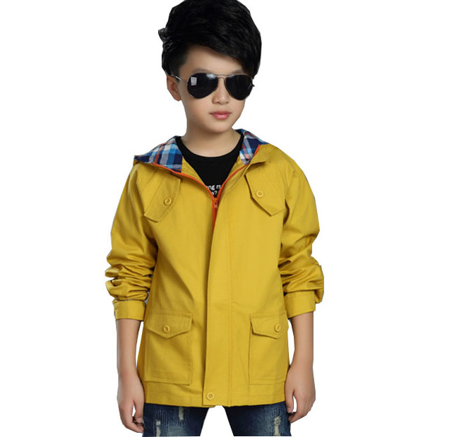 Kids spring 2017 new boys windbreaker in the short paragraph cotton long - sleeved hooded children' s jacket
