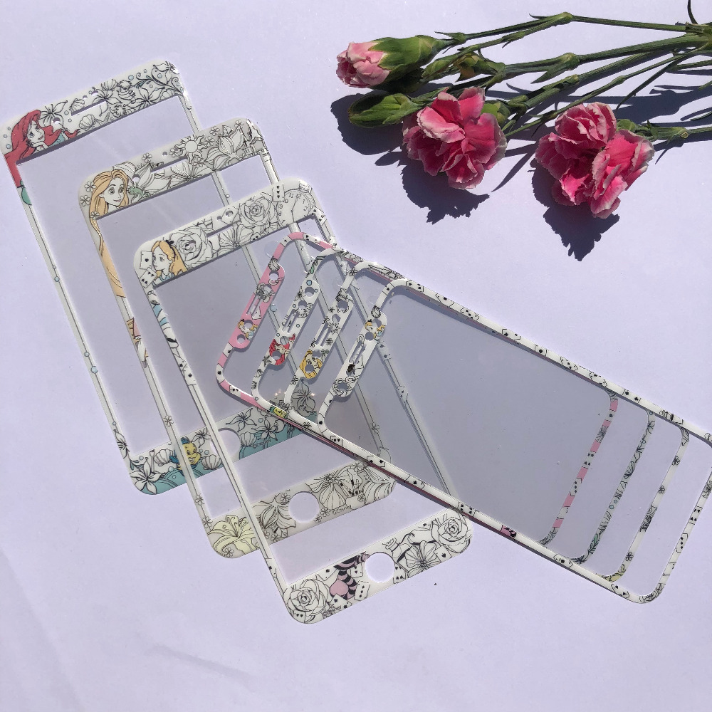 Cartoon 3D Carbon Fiber Emboss Mermaid Princess Tempered Glass Film Protective For iPhone 8 7 6 6s Plus X XS Screen Protector image
