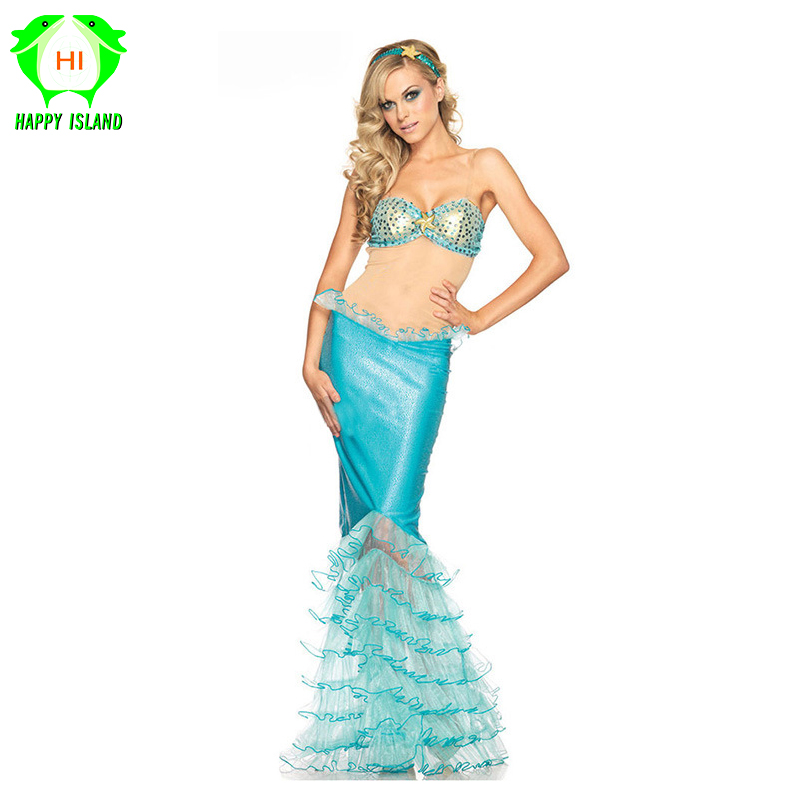 2019 Adult New Women Dresses Mermaid Costumes Halloween Cosplay Dress Romantic Beauty Dress Woman Cosplay Sea Maid Sexy Dress image