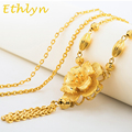 Ethlyn Women sweater chain trendy flower costume jewelry Gold Plated romantic Christmas Valentine's Day gift jewelry  S008