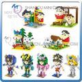 Mini Qute WTOYW LOZ chicos de Anime Saint Seiya Crayon Shin chan cubo de plástico bloques de construcción de modelos de dibujos animados juguetes educativos