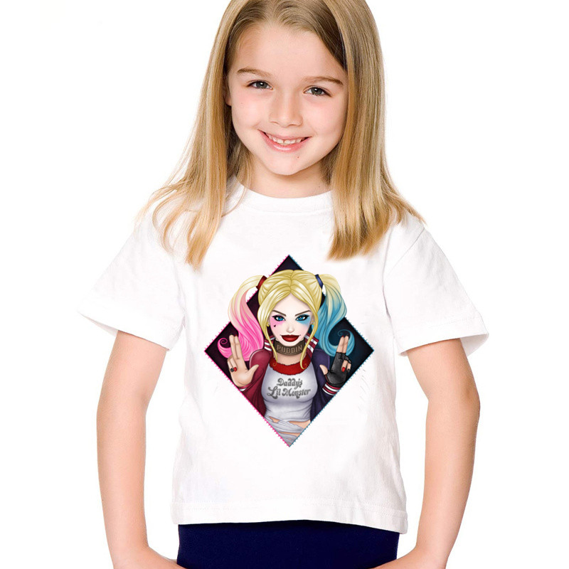 Fashion Print Suicide Squad Harley Quinn Children Funny T-shirts Kids Summer Tees Boys/Girls Casual Tops Baby Clothes,HKP5079