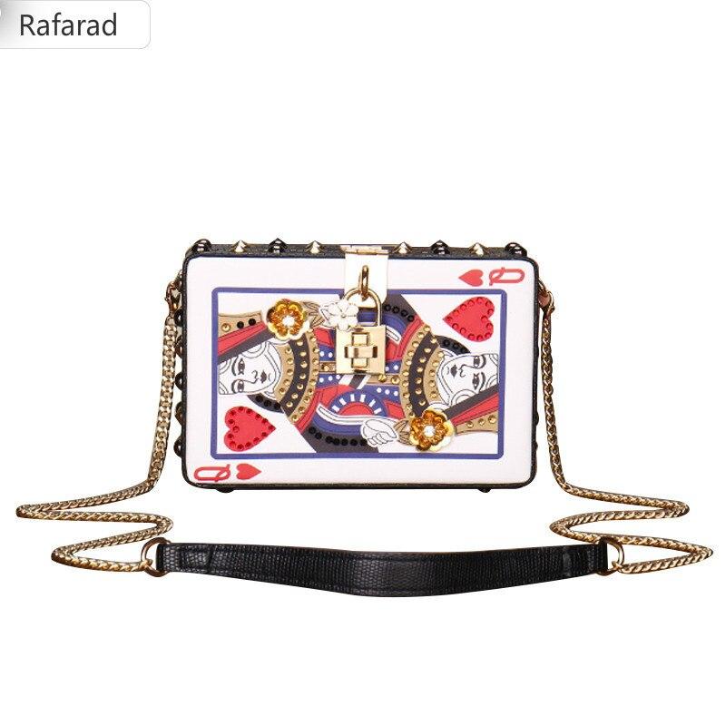 2018 Playing CARDS bag women cute Hearts poker pattern Q box chains rivets messenger bag appliques