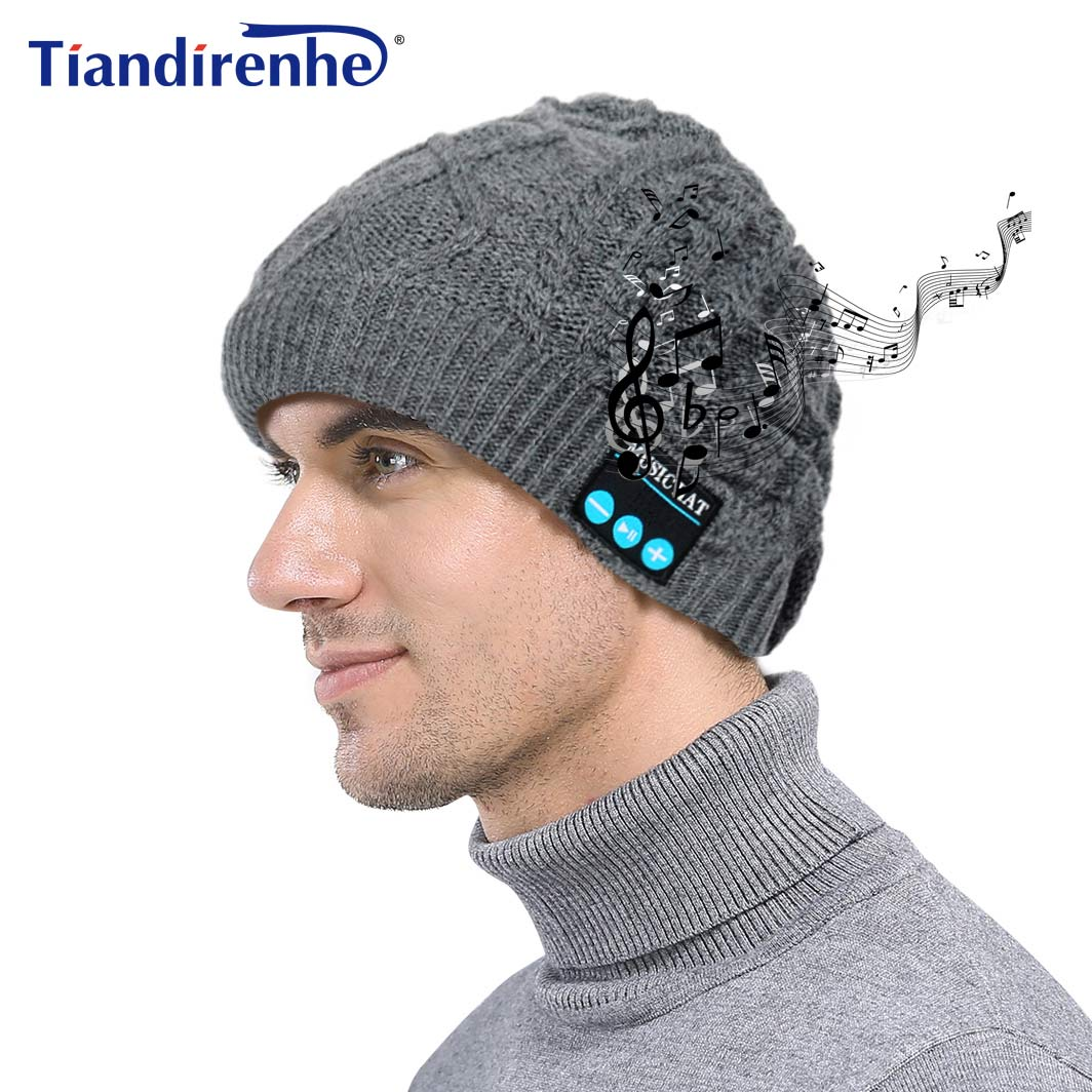 TIANDIRENHE Wireless Bluetooth Smart Cap Headset Headphone Sport Music Twisted Christmas Winter Beanie Women Men Hat Earphone novelty women men winter warm black full face cover three holes mask beanie hat cap fashion accessory unisex free shipping