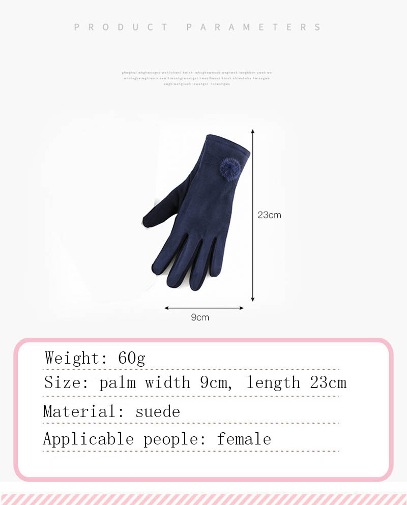 Winter Windproof Touch Screen Gloves for Female made of Cashmere Suede Leather Allows to Use Touch Screen Device Freely 8