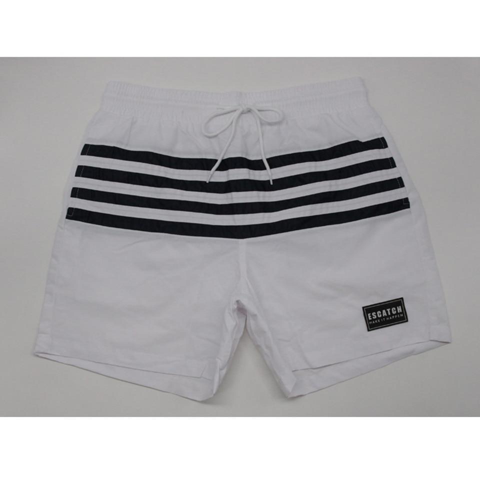 Alixyz Mens Fashion Red and White Striped Stitching Print Sports Quick-Drying Swim Shorts