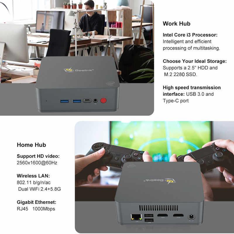 Beelink U55 Mini PC Windows 10 Intel Core I3-5005U Intel HD Graphics 5500  8GB 256GB SSD Mini Computer 2 4G+5 8G WiFi BT4 0 PC