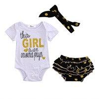 2017 Summer Newborn Infant Baby Girls Tops Romper Ruffle Shorts Headbands Clothing Set 3Pcs Toddler Girls