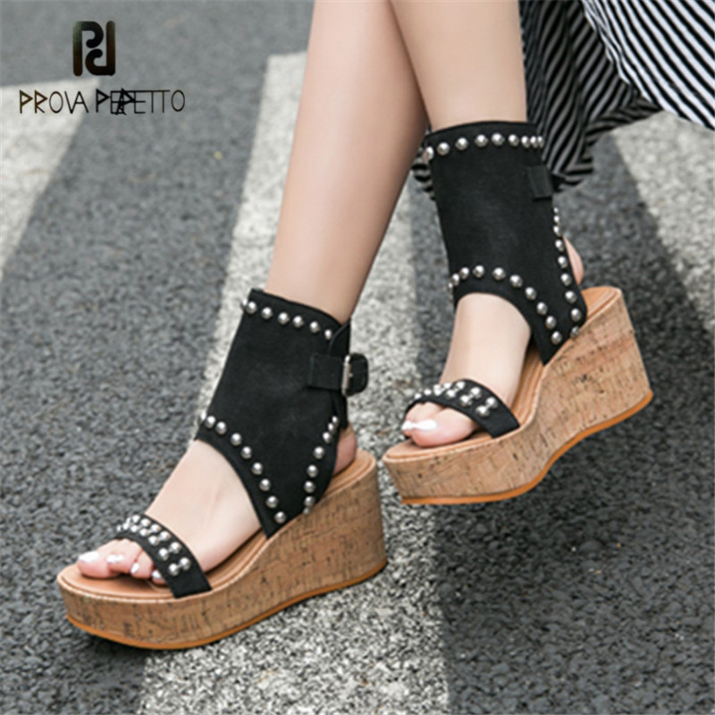 Prova Perfetto Female Gladiator Sandals Fashion Platform Wedge Shoes Woman Rivets Women Pumps Wedges Sandalias Mujer Creepers цена