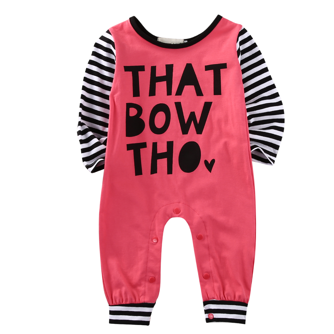 Casual Newborn Baby Boy Girl Clothes Long Sleeve Cotton Letter Print Bebes Romper Playsuit Jumpsuit One Pieces Outfit 0-24M 2016 fashion baby boy girl romper clothes autumn winter warm bebes playsuit zipper long sleeve jumpsuit one pieces outfits suit