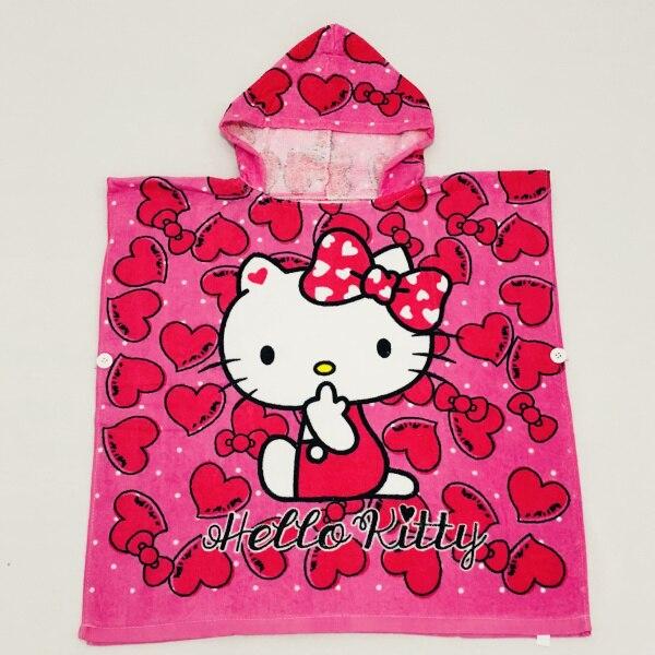 Детские Банные халаты с рисунком сердца розы KT, хлопковый свитер с принтом, накидка, банный халат с капюшоном и рисунком животных - Цвет: KT Rose