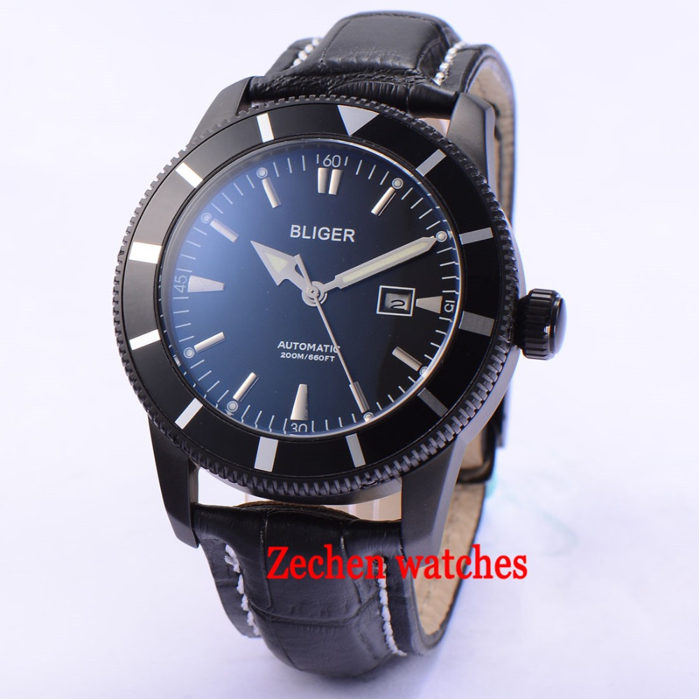 BLIGER 46mm Stainless Steel Case black dial Mechanical Automatic Watch Mens Wristwatch цена и фото