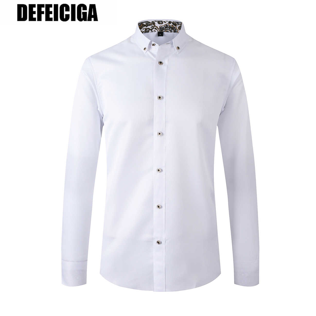 2019 DEFEICIGA Nieuwe Collectie Mannen Shirt Lange Mouwen Man Business Casual Shirts Twill Wit Shirt Merk Formele Shirts 046