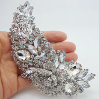 Bridal Bridesmaid Flower Rose Drop Brooch Pins Large Pendant Clear Rhinestone Crystal Brooches For Women