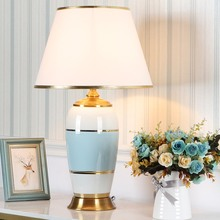 Europe Luxurious High-grade Table Lamps White Fabric Lampshade Ceramic Iron Decorative Useful for Room