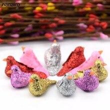 Novo 6 pçs multicolorido artificial espuma pássaros casamentos árvore de natal decoração diy artesanato acessório grinalda scrapbooking