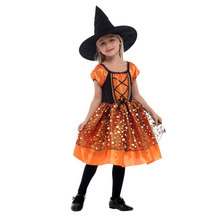 Kids Child Girls Lovely Orange Little Shining Witch Sorceress Costumes Classic Halloween Costume Party Dress