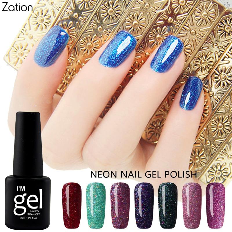 Why Does Neon Nail Polish Chip: Zation Neon Glitter Nail Gel Bling Nail Polish Top Base