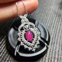 Ruby necklace pendant 5*7mm gems Origin and natural ruby 925 sterling silver For men or women jewelry