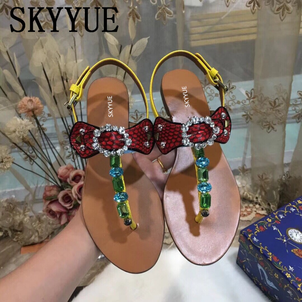 New Snakeskin Jewel Crystal Beading T Strap Women Summer Sandals Flats Open Toe Buckle Strap Women Flats Shoes Women graceful beading and t strap design pumps for women