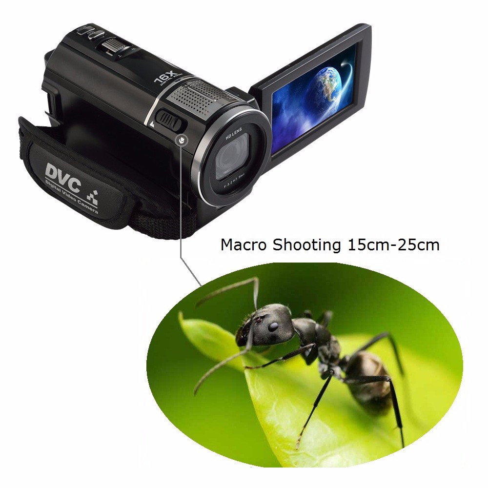 """Marvie 1080p 30fps filmadora Video Recorder 24MP 16X Anti-shake Macro Portable Camcorder 3"""" Touch Screen HDMI out Video Camera 7"""