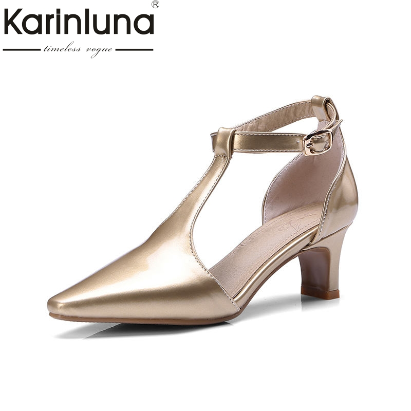 KarinLuna Wholeasle Plus Size 34-48 Customized Gold Silver Sandals Shoes Women Fashion Pointed Toe Party Prom Woman Shoes