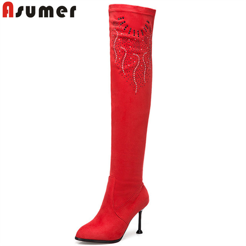 ASUMER plus size fashion autumn winter shoes woman thin high heels over the knee boots flock sexy prom ladies boots black red цена