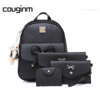 COUGINM Women Backpacks Composite Bag PU Leather Bowknot School Shoulder Bag Fashion Female 4 Pcs Set