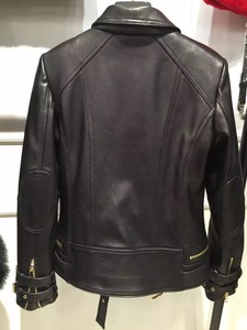 Image 2 - 2016 natural lady leather jacket 100% real sheep leather garment