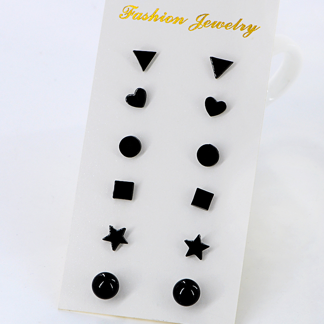 6 Pairs Set New Cute Tiny Black Triangle Heart Earrings For Women Mix Shape Little