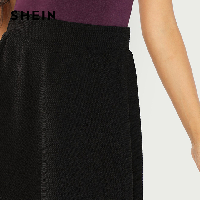 SHEIN Black Elastic Waist Textured Skirt Preppy Plain Fit and Flare A Line Skirts Women Autumn High Waist Short Minimalist Skirt 3