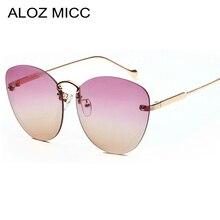ALOZ MICC Women Rimless Sunglasses 2019 New Fashion Cat Eye Cutting Lens Sun Glasses Candy Colors Shades oculos gafas Q268