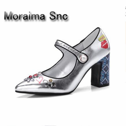 Moraima Snc brand blue sliver Printed ladies pumps Vintage pointed toe square heels high heels pumps women pearl party shoes moraima snc luxurious women pumps shallow high heels pointed toe flower pu leather ankle strap buckle party women pumps