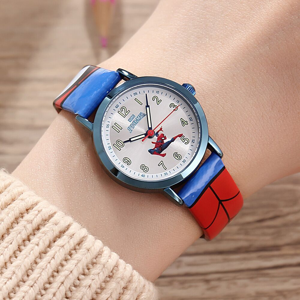 Children's Watches Disney brand children boys watches leather quartz waterproof clocks child boy watch cartoon Spider-Man
