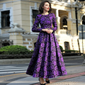 2016 M-3XL Fall Winter Vintage Flowers Women Plus Size Maxi Dress Long Sleeve O neck Pleated Dresses High Quality Purple