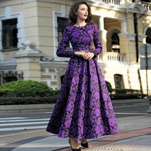 2016 M-3XL Fall Winter Vintage Flowers Women Plus Size Maxi Dress Long Sleeve O neck Pleated Dresses High Quality Purple