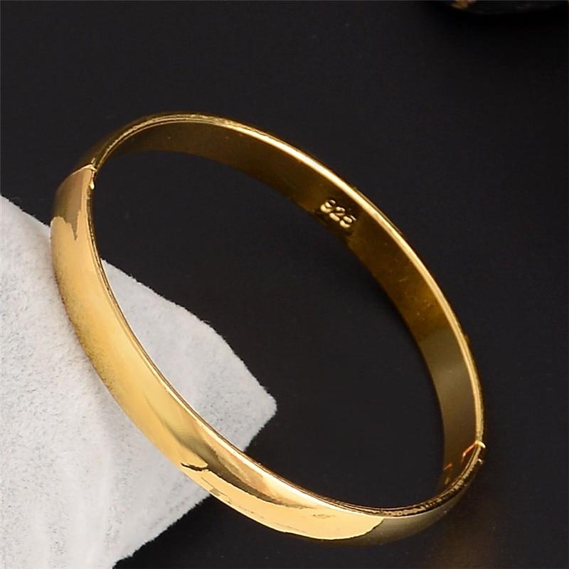 Gold Wrist Bracelet: SHUANGR Women Luxury Jewelry Super Simple Plain Design New