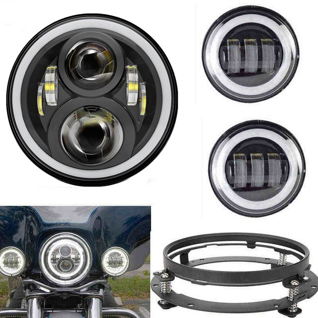 for Daymaker Motos 60w 7 LED Headlight with DRL 4.5  Halo Led Fog Light for Harley Motorcycle with 7 Bracket Adapter Ring