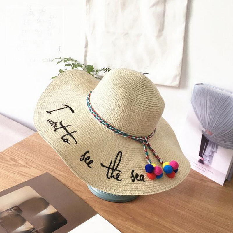 Ymsaid Brand 2018 Letter Embroidery Cap Big Brim Ladies Summer Straw Hat Youth Hats For Women Shade Sunhat Beach Caps Leisure