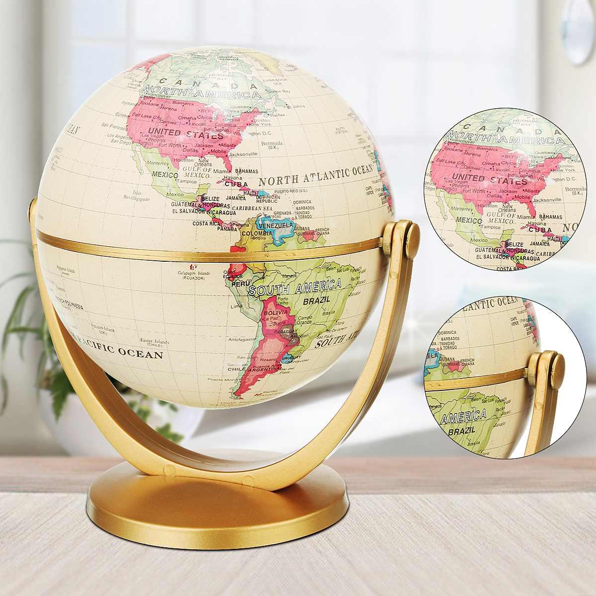 Globe World Map Beige Ocean Earth Rotating School Home Office Table Decor Globe